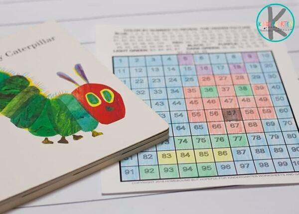 Very Hungry Caterpillar Hundreds Chart Worksheet