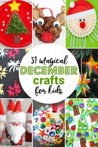 Get ready for a fun, crafty, and beautifully decorated Christmas with all these creative December Crafts for Kids. These cute easy Christmas crafts are perfect for kids of all ages from toddler, preschool, pre-k, kindergarten, first grade, and elementary age kids. We've included tree, reindeer, Santa Claus, ornaments, elves, and more ideas in these kindergarten Christmas crafts.