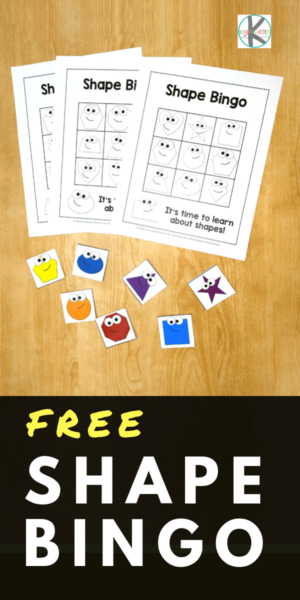 FREE Shape Bingo - kids will have fun practicing recognizing shapes with this fun, free printable math game for preschool, kindergarten, and first grade kids. #shapes #kindergartenmath #mathgames