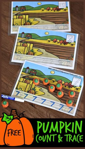 FREE Pumpkin Counting Mats for preschool and kindergarten - this free fall printable math activity allows kids to have fun practicing counting to 10 using pumpkin candy corn and then tracing numbers. #candycorn #pumpkin #kindergarten
