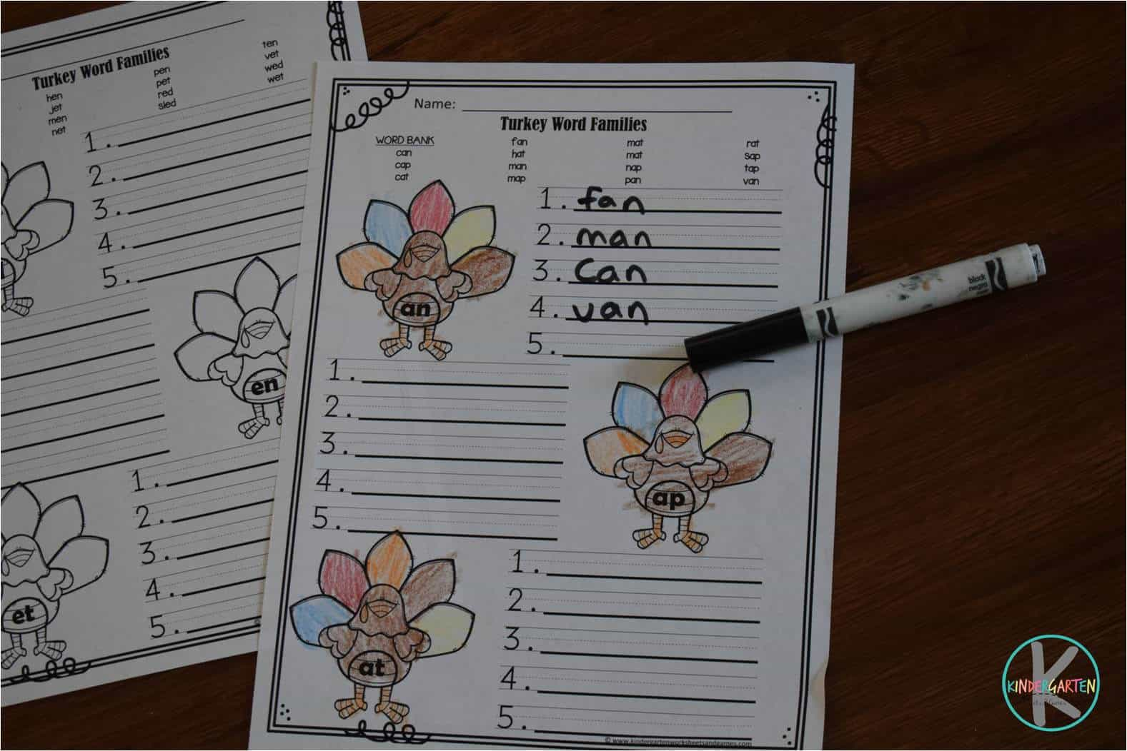 turkey-word-families-worksheets-free