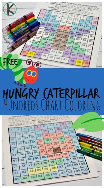 FREE The Very Hungry Caterpillar Hundreds Chart Coloring - kids will have fun practicing using the 100s chart with these fun, playful math worksheets for kindergarten and first grade kids; perfect for Eric Carle's birthday or spring #hundredschart #100schart #counting #countingto100 #kindergarten #kindergartenmath #freemathworksheets #homeschooling #hungrycaterpillar