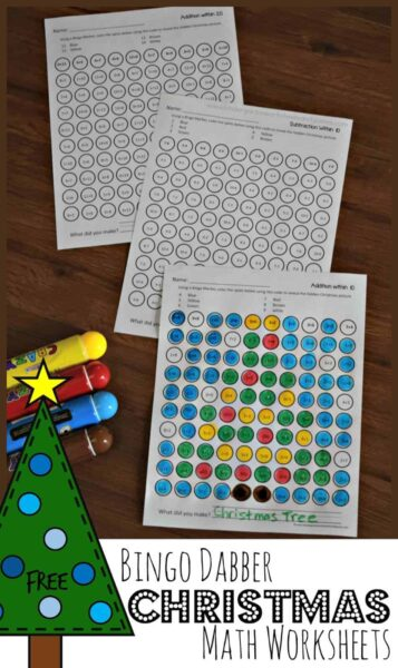 FREE Bingo Dabber Christmas Math Worksheets - these free printable worksheets make it fun for kids to practice addition and subtraction while they reveal hidden pictures #christmasworksheets #chrsitmasprintables #christmasmath #kindergarten
