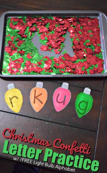 This is such a fun, hands on alphabet activity for toddler, preschool, prek, and kindergarten age kids during December. Use the free printable ligh bulb letters and confetti to practice writing numbers #christmasactivitiy #christmasalphabet #christmasprintable