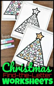 These NO PREP, free Christmas worksheets are such a fun way for toddler, preschool, pre-k, and kindergarten age children to practice letter recognition during the holiday season in December. There is a Christmas worksheets for each letter from A to Z. Children will use crayons, markers, colored pencils or bingo daubers to find the letter and color the correct ornaments on the Christmas tree. This is such a fun, educational kindergarten Christmas activities to keep kids engaged and learning!