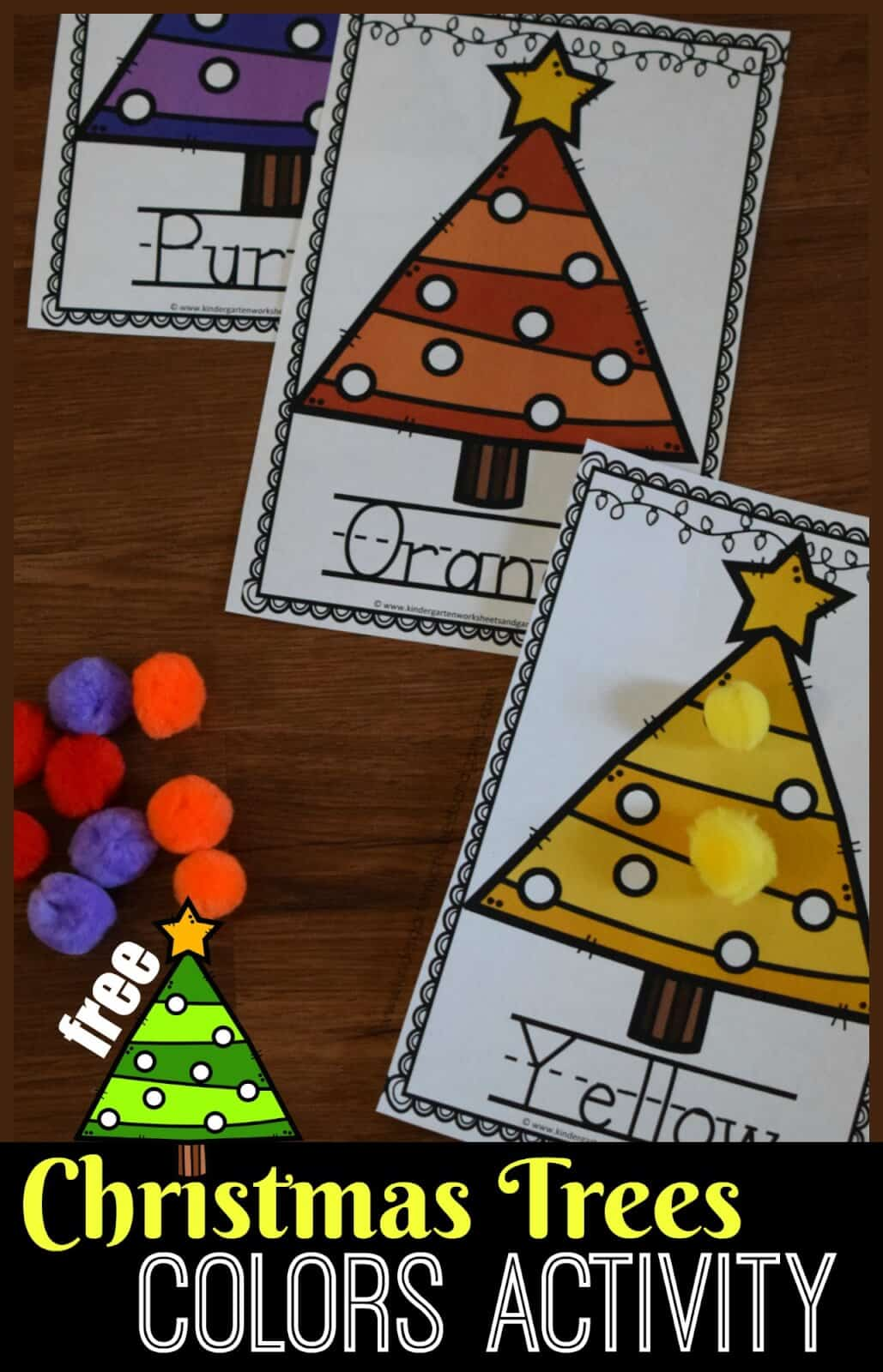 FREE Christmas Tree Colors Activity - this free printable color activity is perfect for helping toddler, preschool, prek, and kindergarten age kid practice matching colors with a fun, Christmas activity. Great for improving fine motor skills too. #coloractivities #christmaslearning #christmasactivity