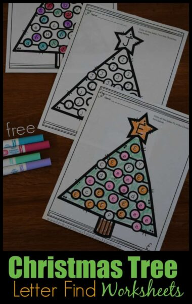 FREE Christmas Tree Letter Find Worksheets - super cute Christmas learning activity to help preschool, prek, kindergarten, and first grade kids practice identifying uppercase and lowercase letters! These alphabet worksheets are super cute, NO PREP, and these worksheets for kids help improve phonics! #christmasprintables #christmasworksheets #christmasalphabet