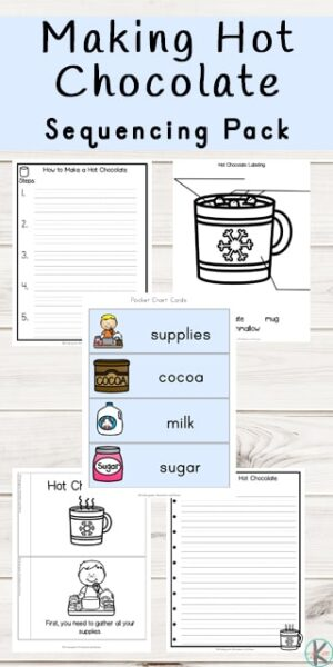 A great way to warm up during the cold months is with a lovely hot chocolate. Children will love sipping on a hot chocolate with marshmallows and whipped cream while completing these winter math worksheets for preschool, pre-k, kindergarten, and first grade students. These free printable how to make hot chocolate sequencing pictures are such a fun way to work on sequencing the order things happen while having fun with a chocolate theme or winter theme learning activity for kids.