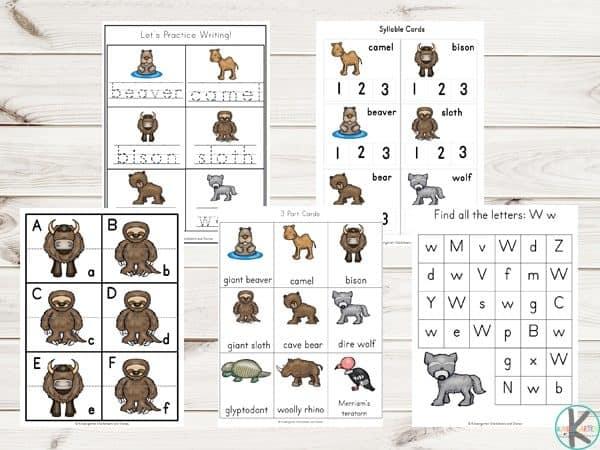 FREE Ice Age Animals Printable Pack – Kindergarten