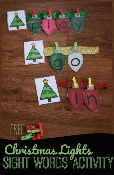 Help kids practice building key sight words with this fun, hands on sight word activity for prek, kindergarten, and first grade students perfect for December! Kids will decorate the Christmas tree with light bulb letters to make the words #sightwords #christmaslearning #christmasprintables