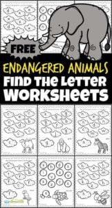 Endangered Animals Find the Letter Worksheets