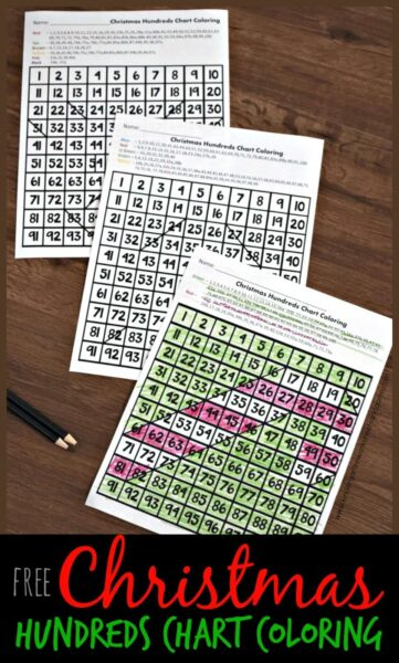 FREE Christmas Hundreds Chart Coloring - free printable 100s chart worksheets for kindergarten, first grade, 2nd grade, and 3rd grade kids! This Christmas math activity is so much fun. Kids love revealing the mystery pictures #christmasworksheets #christmasmath #christmasprintables