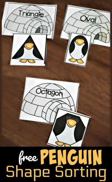 """Kids will have fun working on shape recognition with this super cute, penguin themed shape matching game! For this penguin shapemath activity toddler, preschool, pre-k, kindergarten, and first grade students will match all the triangle shape penguins with the igloo with the word """"triangle"""". This winter math makes learning shapes and shape names FUN!"""