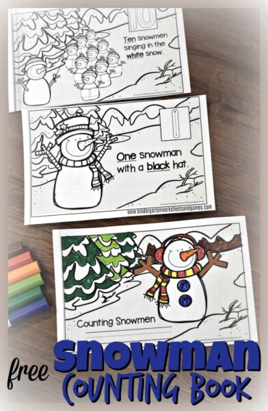 FREE Snowman Counting Book - this free printable math emergent reader makes it fun for preschool and kindergarten age kids to practice counting while practicing sight words! #snowman #winter #preschool #kindergarten #kindergartenmath #counting