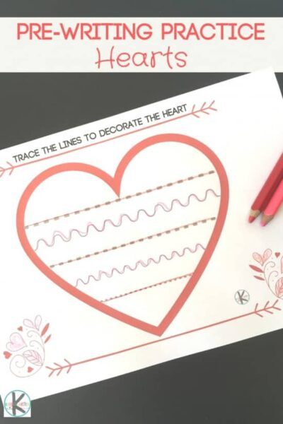 FREE Valentines Day Pre Writing Practice - this free printable valentines day pre-writing practice is a great way for kids to strengthen motor skills with a cute heart theme #preschool #prewriting #valentinesday