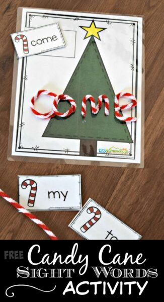 FREE Christmas Sight Words Activity - kids will have fun practicing sight words with this fun, hands on educational activity perfect for December. This kindergarten, prek, and first grade acticity makes a great center or home learning too #sightwords #christmaslearning #education