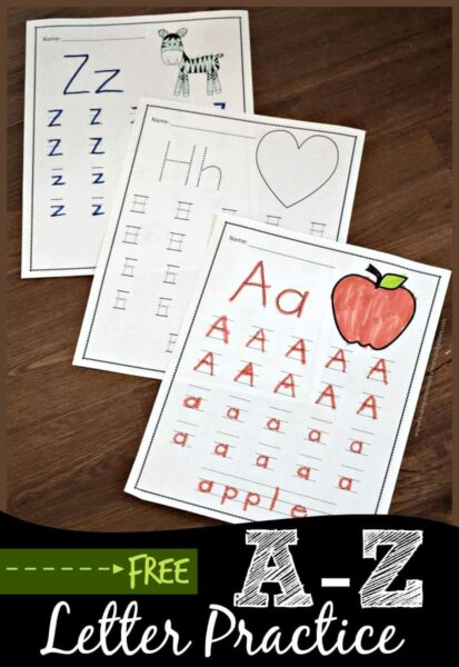 FREE A to Z Letter Practice - these free printable kindergarten alphabet worksheets are a fun, no prep way for preschool, kindergarten ,and first grade kids practice writing letters #prek #kindergarten #alphabet