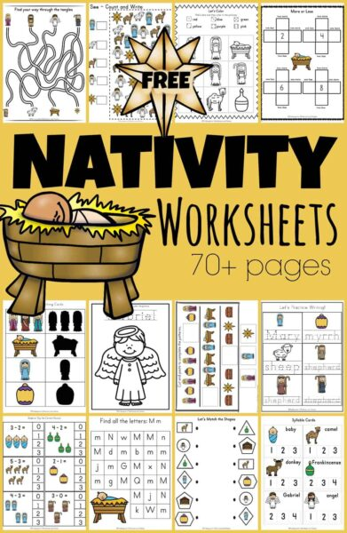 Super cute, free nativity worksheets printables pack has over 70 pages of literacy and math activities with a Christian theme of Jesus' birth as told in Luke 2. These Christmas worksheets are perfect for toddler, preschool, pre-k, kindergarten, and first grade students to sneak in some holiday learning during December. Simply download pdf file withChristmas worksheets for kindergarten and you are ready for lots of fun holiday learning!