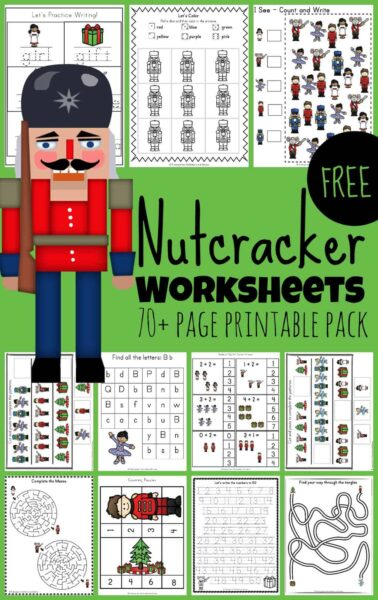 Kids will be excited to practice a variety of early learning skills including math, alphabet, literacy, and more with these super cute, freeNutcracker Worksheets. There are over 55 pages of Nutcracker printables for toddler, preschool, pre-k, kindergarten, and first grade students to make learning fun during the holiday season in December. So download the pdf file, print the pages, put on the Nutcracker music, and have fun learning clipart of ballet, snowman, nutcrackers, mouse king, Christmas trees, and more!