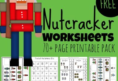Kids will be excited to practice a variety of early learning skills including math, alphabet, literacy, and more with these super cute, free Nutcracker Worksheets. There are over 55 pages of Nutcracker printables for toddler, preschool, pre-k, kindergarten, and first grade students to make learning fun during the holiday season in December. So download the pdf file, print the pages, put on the Nutcracker music, and have fun learning clipart of ballet, snowman, nutcrackers, mouse king, Christmas trees, and more!