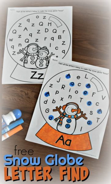 Kids will have fun practicing letter recognition of both upper and lowercase letters with these free printable Snow Globe Letter Find pages. These winter alphabet worksheets are such a handy winter printables for toddler, preschool, pre-k, and kindergarten age children. Simply use bingo dabber to dab the letters and make it snow in the snow globe. There is a winter worksheets for kindergarten for ABC letter A to Z. Simply download snow do a dot printables and get ready to make learning fun this December, January, and February.