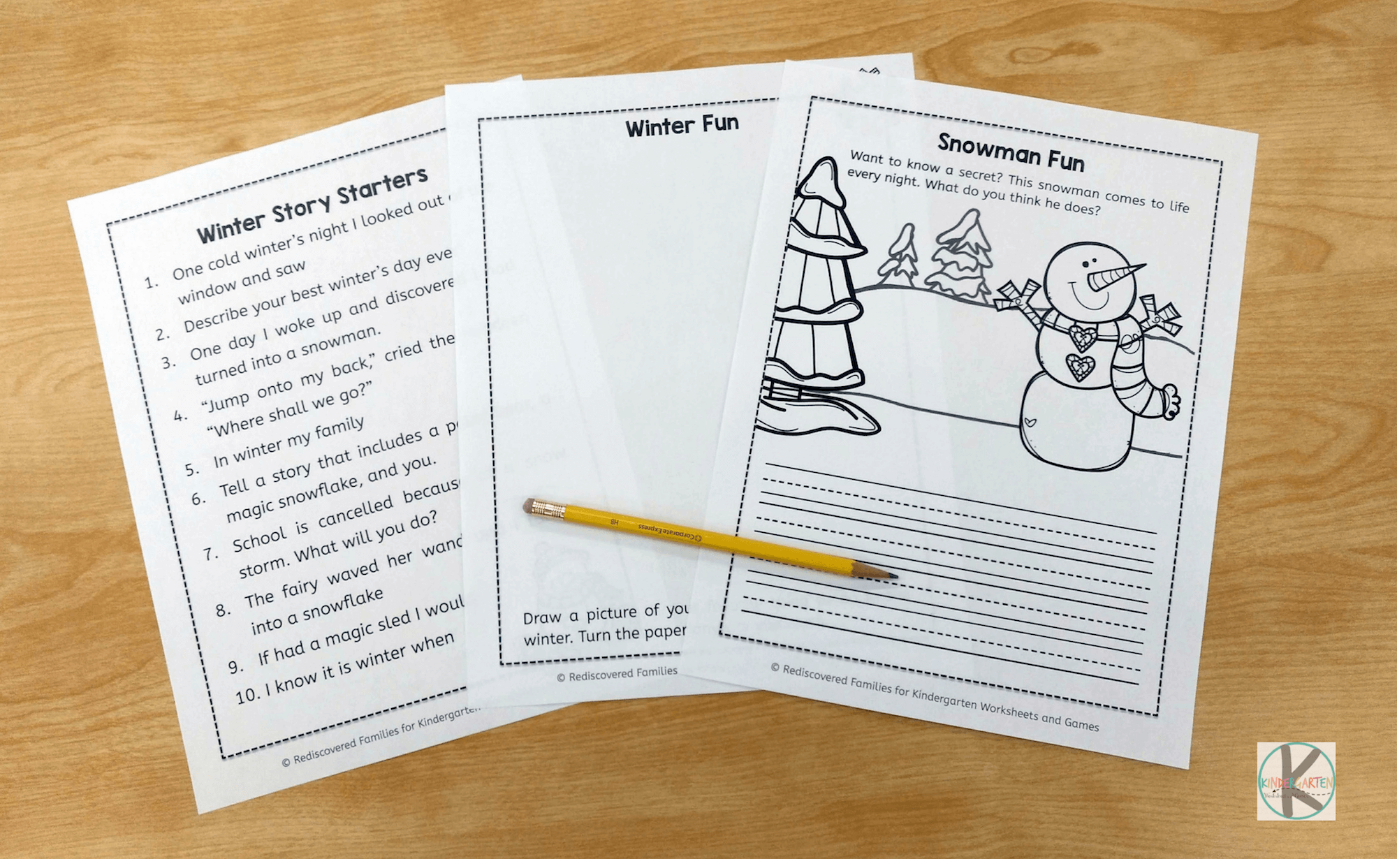 free winter writing prompts kindergarten worksheets and games. Black Bedroom Furniture Sets. Home Design Ideas