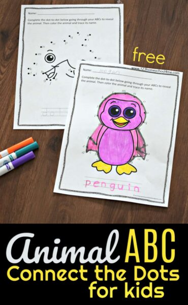 FREE Animal ABC Connect the Dots for Kids - super cute connect the dot worksheets for preschool and kindergarten age kid practicing alphabet letters. These dot to dot worksheets for kids feature super cute animals #alphabet #dottotodot #kindergarten