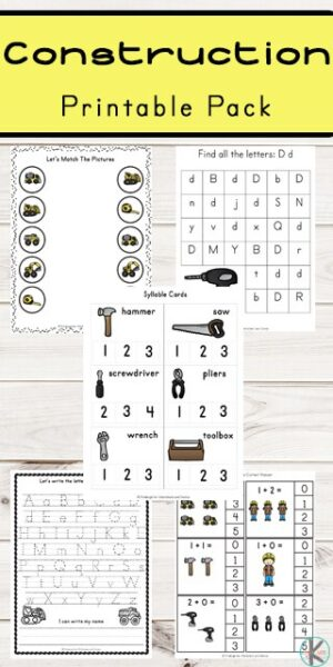 FREE Construction Printable Pack - kids will have fun practicing math and literacy skills with these free printable worksheets and activities for preschool, kindergarten, and first grade. Includes alphabet letters, counting, skip counting, syllables, addition, and so much more #preschool #kindergarten #freeworksheets