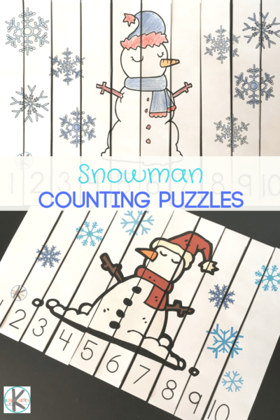 FREE Count to 10 Snowman Puzzle - this free printable counting activity is a fun way for toddler, preschool, and kindergarten age kids to practice counting with a fun snowman, winter theme. #wintertheme #snowmantheme #mathactivity #mathworksheets #kindergartenmath #preschoolmath #kindergarten #preschool