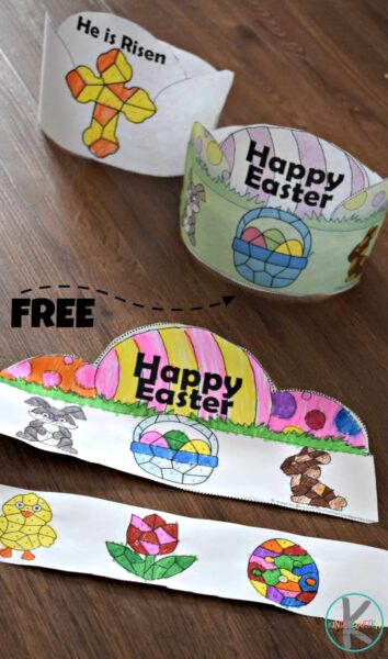 FREE Easter Color by Number Crowns - kids will have fun coloring and practicing number recognition with numbers 1-10 as they make this super cute Easter activity for kids from toddler, preschool, to kindergarten #easter #easteractivity #easerprintable #toddler #preschool #kindergarten #freeprintable #colorbynumber