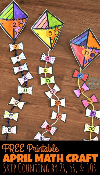 FREE Printable April Math Craft - this super cute spring math craft for kindergarten age kids helps kids practice skip counting by 2s, 5s, and 10s. #kindergarten #kindergartenmath #skipcounting #mathcraft #springmathcraft #homeschool #countingby2s #countingby5s #countingby10s