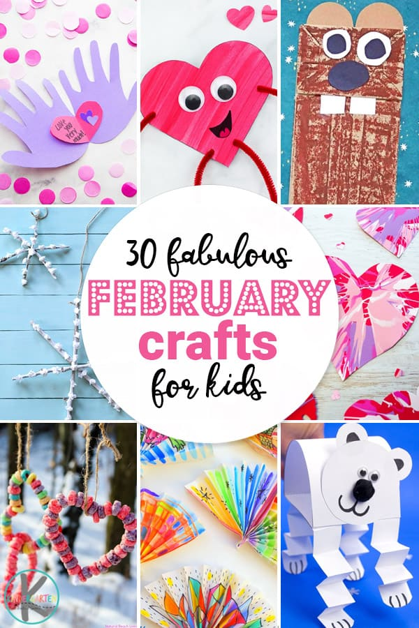 tons of creative crafts for kids during the month of Febraury - hearts, groundhog, snowflakes, Valentines, and more