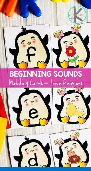 FREE Penguin Beginning Sounds Match - kids will have fun practicing matching alphabet letters with the sounds that they make #penguintheme #beginningsounds #alphabet #kindergarten #freeprintable