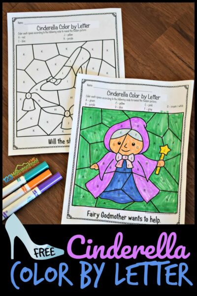 Free Princess Cinderella Color By Letter Printable Worksheets