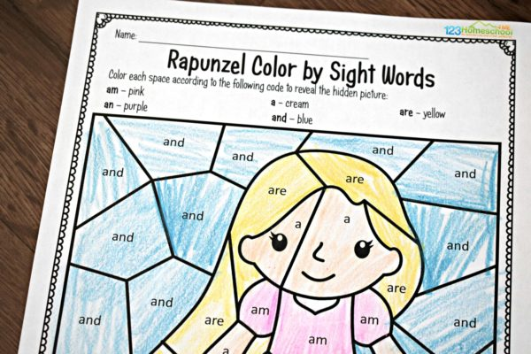 - FREE Rapunzel Sight Word Coloring Pages