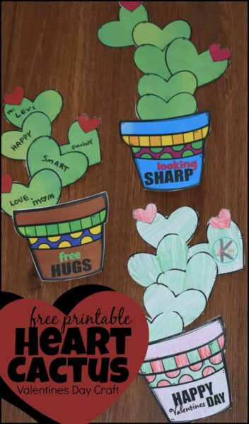 Cute Heart Cactus Craft - this FREE Printable Valentines Day craft is no prep! Just print, cut, and paste and you have an adorable February craft for toddler, preschool, kindergarten, and other age kids for decorating walls, bulletin boards, or giving to kids. #valentinesday #heartcrafts #valentinescrafts #craftsforkids #februarycrafts #preschoolcrafts #toddlercrafts #kindergartencrafts #printablecrafts #easycrafts