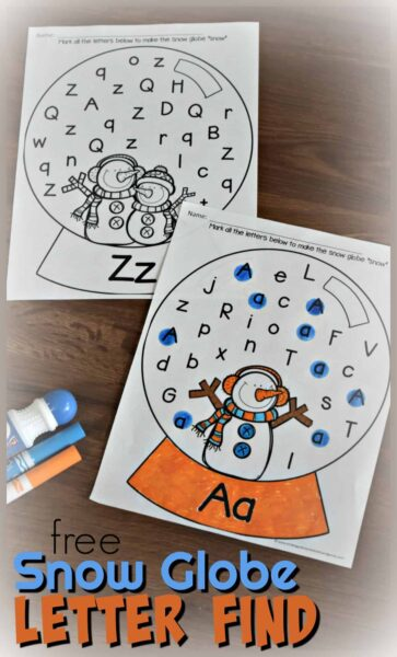 FREE Snow Globe Letter Find - these free printable alphabet worksheets help kids have fun making it snow as they practice identifying uppercase and lowercase with this winter themed alphabet worksheets #snowman #alphabet #preschool #kindergaten