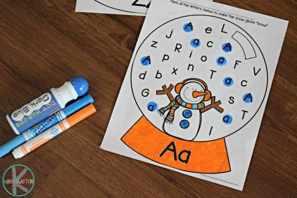 FREE Snow Globe Alphabet Letter Find - Winter Worksheets For Kindergarten