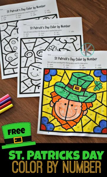 FREE St Patricks Day Color by Number - kids will have fun practicing number recognition of numbers 11-20 with these free printable Saint Patricks day printables for preschool and kindergarten #colorbynumber #stpatricksday #kindergarten