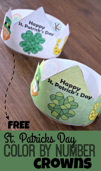 FREE St. Patricks Day Color by Number Crowns - kids will have fun practicing number recognition with numbers 1-10 as they color these free printable st patricks day for kids crowns. This is such a fun st patricks day activity #stpatricksday #colorbynumber #kindergarten