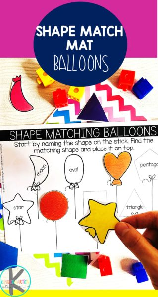 Balloon Shape Activity - this free printable activity makes it fun for preschool and kindergarten age kids to practice matching shapes #shapes #preschool #kindergarten