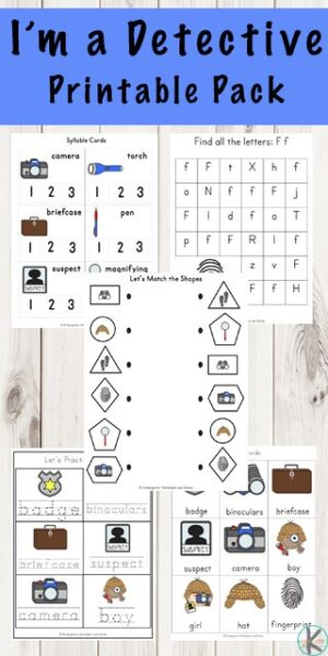 FREE Detective Printable Pack - help kids practice math and literacy skills with this fun spy themed educational worksheets for preschool, kindergarten and first grade kids #worksheetsforkids #kindergarten #preschool