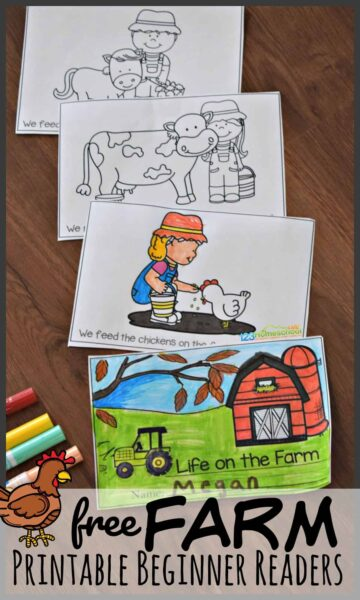 Help introduce your child to life on the farm with this super cute, free printable beginner reading books.  This free printable books for beginning readers uses simple words and common sight words to not only learn about various farm animals and chores, but gives lots of practicing with sight words so preschool, pre k, kindergarten, and first grade children can achieve fluency as they learn to read.