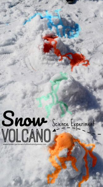 This snow volcano is an EPIC winter science experiments that allows kids to make a beautiful volcano right in the snow! This winter activity for kids is perfect for toddler, preschool, pre-k, kindergarten, first grade, 2nd grade, and 3rd grade students. This snow science experiments will impress kids of all ages and make science fun! Plus the Snow Volcano Science Experiment is easy to clean-up. So try this fun winter activity for kids this December, January, February, or March!