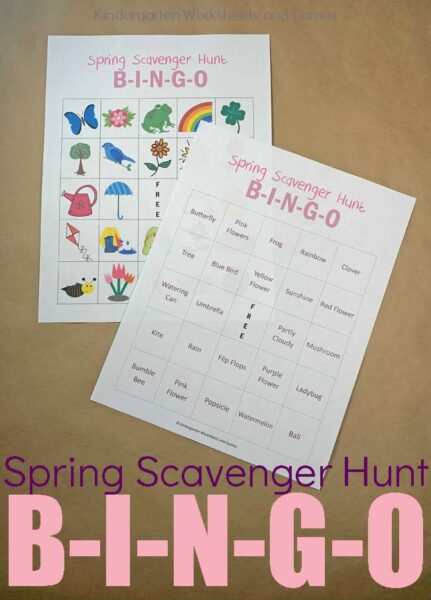 FREE Spring Scavenger Hunt BINGO - this free printable scavenger hunt for kids is a great way to celebrate spring! This is such a fun spring kids activity for families #scavengerhunts #bingoforkids #springactivities