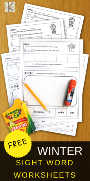 Grab these sight words worksheets for fun improving reading skills with pre-k, kindergarten, and first grade students using FREE winter printables. Low prep and engaging. Who knew that reading and using sight words could be so much fun using cut and paste activities. Simple download pdf file with kindergarten sight words printables and you are ready for a no prep, educational winter activity with super cute clipart.