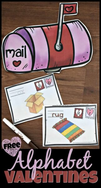 FREE Alphabet Valentines Activity - this fun, hands on activity helps kids practice identifying beginning sounds of simple words, matching uppercase and lowercase letters, and tracing simple words to mail Alphabet Valentines. This is a fun phonics, February literacy activity for Preschool and Kindergarten age kids. #literacy #valentiensday #alphabet #lettermatching #beginningsounds #literacycenters #preschool #kindergarten