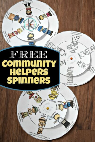 Kids will have fun learning about community helpers for kids with this fun, hands on activity! Grab the community helpers printables and easily put together to spin the wheel to match the community helper from garbage collector to lawyer, teacher to plumber, and so many more.  We have over 30 essential jobs included for toddler, preschool, pre k, kindergarten, and first graders to learn about.