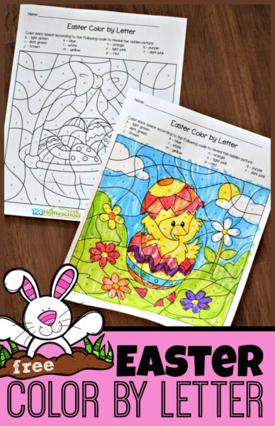 FREE Easter Color by Letter - this free printable color by alphabet Easter worksheets are a fun way for preschool and kindergarten age kids to practice letter recognition #easterworksheets #colorbyletter #kindergarten