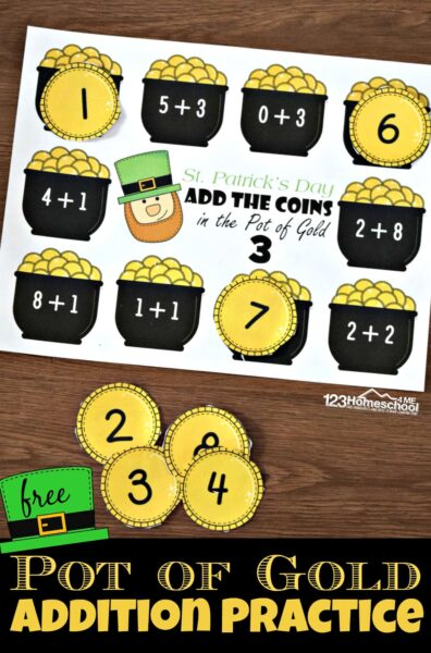 FREE Pot of Gold Addition Practice - this free printable kindergarten math game makes practicing addition within 10, addition within 20, and addition within 30 with a fun St Patricks Day activity for kindergarten and first grade kids #potofgold #addition #additiongame #kidnergarten #kindergartengame #firstgrade #firstgrademath #mathgame #freeprintable